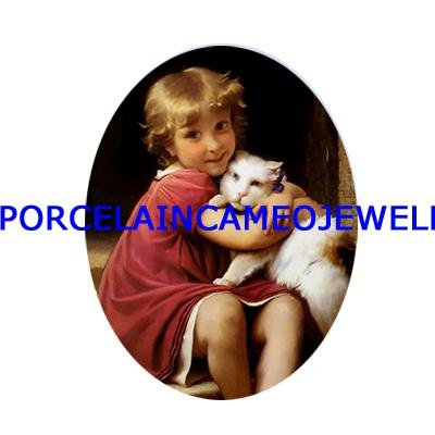 VICTORIAN GIRL HUGGING HER KITTY CAT CAMEO PORCELAIN 18X25MM