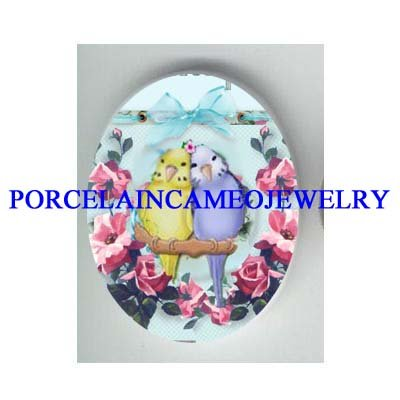 2 BABY PARAKEET BUDGIE BIRD ROSE RIBBON CAMEO PORCELAIN CAB 18X25MM