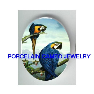 2 BLUE PARROT MACAW BIRD ORCHID UNSET PORCELAIN CAMEO