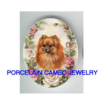 POMERANIAN DOG WITH VICTORIAN ROSE* UNSET CAMEO PORCELAIN CAB
