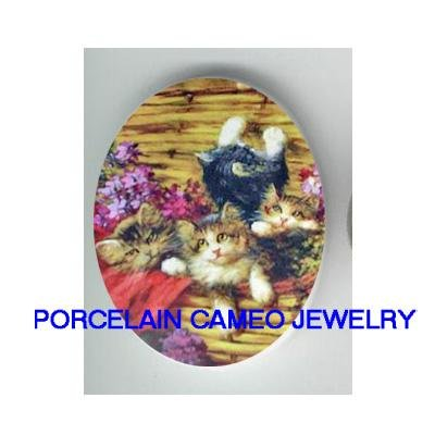 4 VICTORIAN KITTY CAT VIOLET BASKET PORCELAIN CAMEO CAB