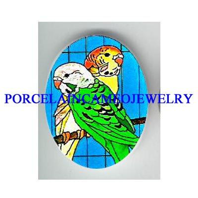 LOVING PARAKEET BUDGIE BIRD  * UNSET CAMEO PORCELAIN CAB 18X25MM