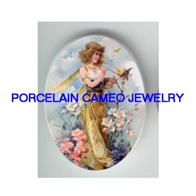 SPRING BUTTERFLY FAIRY  * UNSET CAMEO PORCELAIN CAB