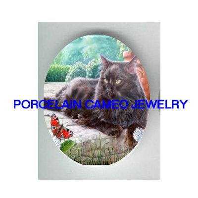 BLACK CAT WITH BUTTERFLY UNSET CAMEO PORCELAIN CAB 30X40