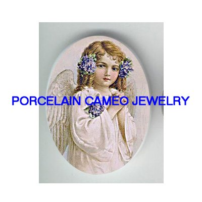 VICTORIAN VIOLET PRAYING ANGEL GIRL CAMEO PORCELAIN CAB