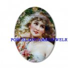 VICTORIAN LADY WITH ROSE CAMEO PORCELAIN CAB 18X25MM