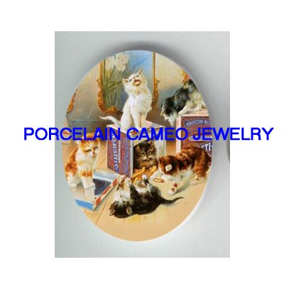 VICTORIAN KITTY CAT PLAYING BOXES * UNSET CAMEO PORCELAIN CAB