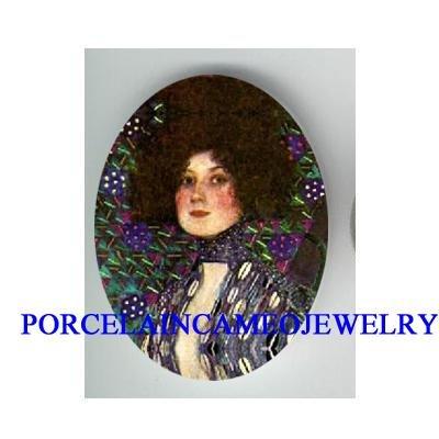 GUSTAV KLIMT PURPLE LADY* UNSET CAMEO PORCELAIN CAB