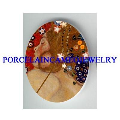 GUSTAV KLIMT STAR FLOWER LADY* UNSET CAMEO PORCELAIN CAB