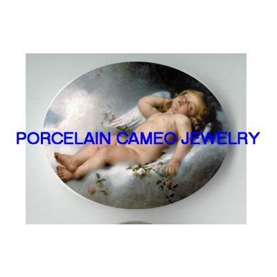 SLEEPING ANGEL CHERUB ROSE * UNSET CAMEO PORCELAIN CAB