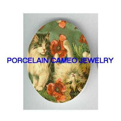 2 VICTORIAN KITTY CAT PLAY POPPY FLOWER * UNSET CAMEO PORCELAIN CAB
