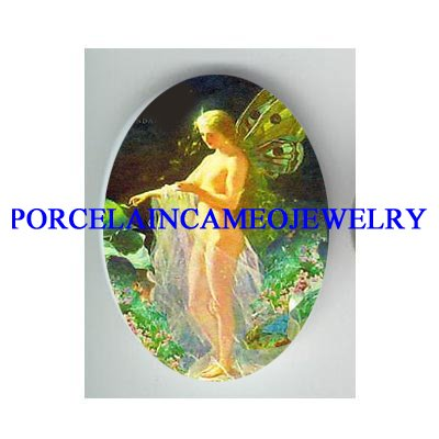 VICTORIAN BUTTERFLY FAIRY * UNSET CAMEO PORCELAIN CAB