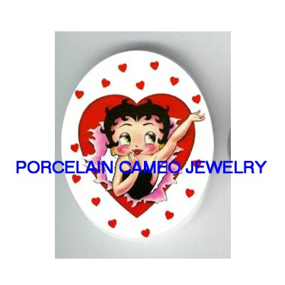 *BETTY BOOP BLOW KISSES LOVE HEART* UNSET CAMEO PORCELAIN CAB