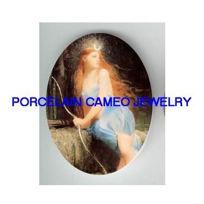 VICTORIAN GODDESS DIANA HUNTRESS  * UNSET CAMEO PORCELAIN CAB