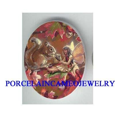 FAIRY AND SQUIRREL HOLDING A NUT* UNSET CAMEO PORCELAIN CAB