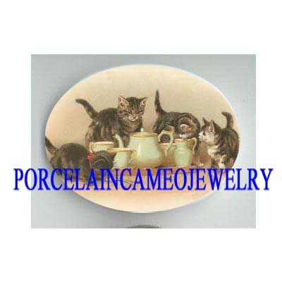 4 VICTORIAN KITTY CAT TEA PARTY* UNSET CAMEO PORCELAIN CAB