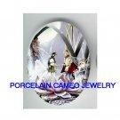 FAIRY PRINCE PRINCESS WEDDING PORCELAIN CAMEO CAB 18x25