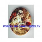LITTLE RED RIDING HOOD FLOWER * UNSET CAMEO PORCELAIN CAB