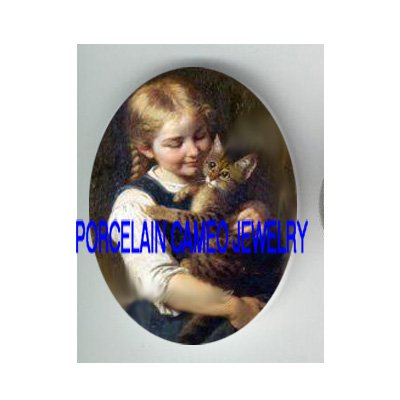 VICTORIAN GIRL HOLDING KITTY CAT * UNSET CAMEO PORCELAIN CAB