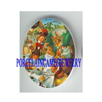 ALICE IN WONDERLAND UNSET PORCELAIN CAMEO CAB 30X40MM