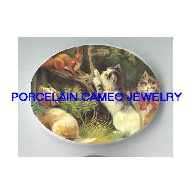3 VICTORIAN CAT CHASING SQUIRREL  * UNSET CAMEO PORCELAIN CAB