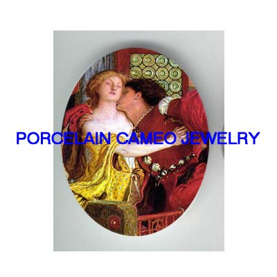 ROMEO KISSING JULIET* UNSET CAMEO PORCELAIN CAB 30X40MM