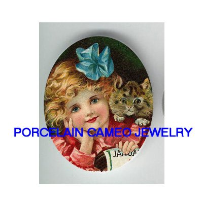 VICTORIAN BLUE BOW GIRL WITH KITTY CAT * UNSET CAMEO PORCELAIN CAB