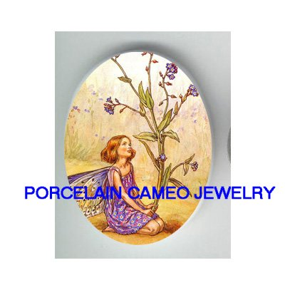 FORGET ME NOT FLOWER FAIRY UNSET CAMEO PORCELAIN CAB
