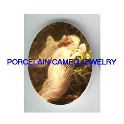 VICTORIAN BUTTERFLY FAIRY SMELL FLOWER* UNSET CAMEO PORCELAIN CAB