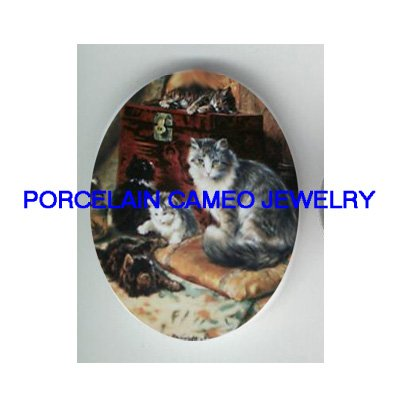 *VICTORIAN KITTY CAT FAMILY PLAY TRUNK* UNSET CAMEO PORCELAIN CAB