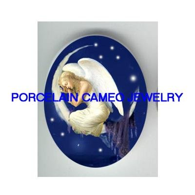 SLEEPING ANGEL CREST MOON* UNSET CAMEO PORCELAIN CAB