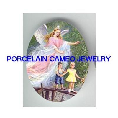 GUARDIAN ANGEL CHILD BRIDGE* UNSET CAMEO PORCELAIN CAB