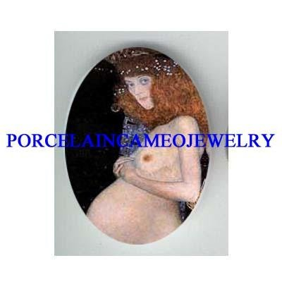 GUSTAV KLIMT HOPE LADY* UNSET CAMEO PORCELAIN CAB