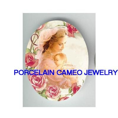 MOTHER CUDDLING BABY ROSE* UNSET CAMEO PORCELAIN CAB 18X25