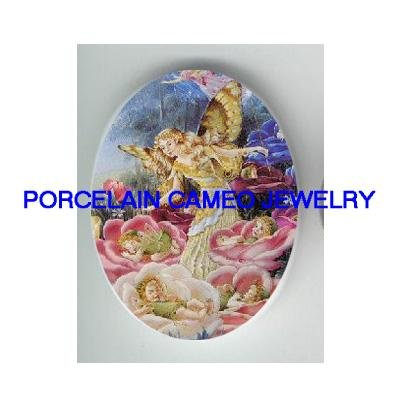 FAIRY MOM AND BABY * UNSET CAMEO PORCELAIN CAB 30X40MM