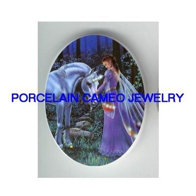 BLUE UNICORN HORSE FAIRY PRINCESS* UNSET CAMEO PORCELAIN CAB