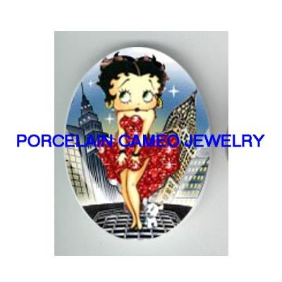 BETTY BOOP RED DRESS MOVIE STAR* UNSET CAMEO PORCELAIN CAB