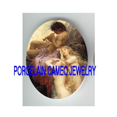 2 VICTORIAN MERMAID PRINCE PLAY FLUTE* UNSET CAMEO PORCELAIN CAB