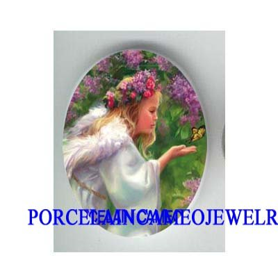 ROSE ANGEL GIRL BUTTERFLY * UNSET CAMEO PORCELAIN CAB