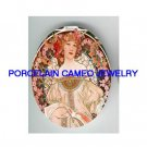 ALPHONSE MUCHA PINK FLOWER LADY * UNSET CAMEO PORCELAIN CAB