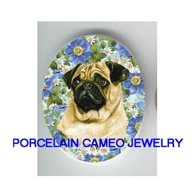 PUG DOG FORGET ME NOT DAISY * UNSET CAMEO PORCELAIN CAB