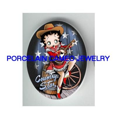 BETTY BOOP COWGIRL COUNTRY STAR UNSET CAMEO PORCELAIN