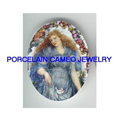 RENAISSANCE LADY PURPLE DRESS ROSE PORCELAIN CAMEO CAB