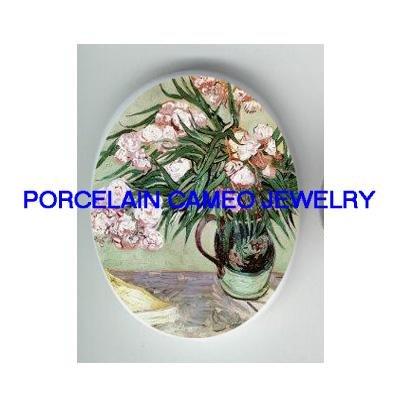 VAN GOGH WHITE Oleanders * UNSET CAMEO PORCELAIN CAB