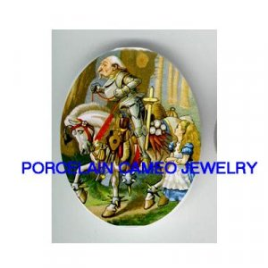 ALICE IN WONDERLAND * UNSET CAMEO PORCELAIN CAB 30X40MM
