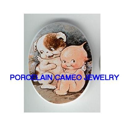 KEWPIE BABY WITH PUPPY DOG* UNSET CAMEO PORCELAIN CAB