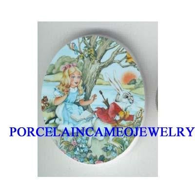 ALICE IN WONDERLAND CHASE RABBIT PORCELAIN CAMEO 18x25