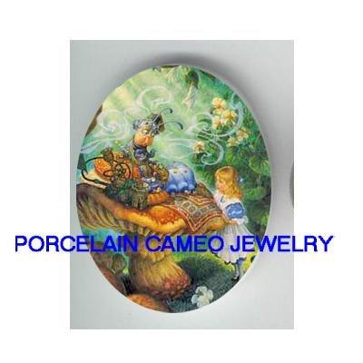 ALICE IN WONDERLAND UNSET CAMEO PORCELAIN CAB 18x25mm