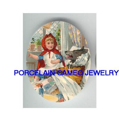 LITTLE RED RIDING HOOD WITH WOLF* UNSET CAMEO PORCELAIN CAB