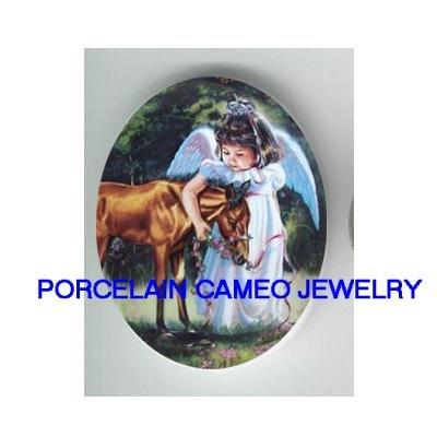 ANGEL GIRL CUDDLING BABY HORSE* UNSET CAMEO PORCELAIN CAB